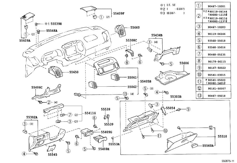 Toyota Camry Dashboard Air Vent. Instrument, Panel