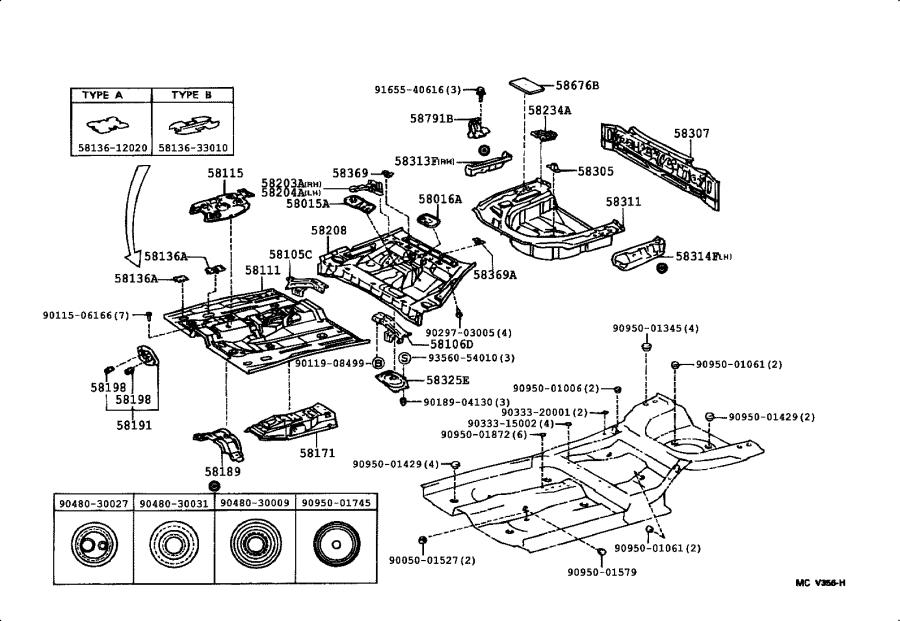 Toyota Camry Extension, rear floor pan to quarter panel