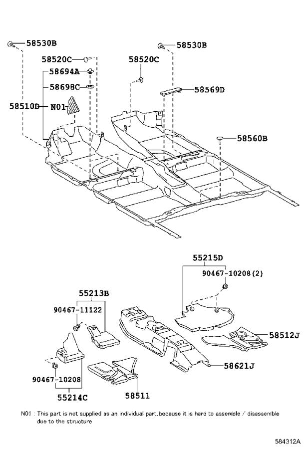 Toyota Prius Carpet assembly, floor, front. Md.gray
