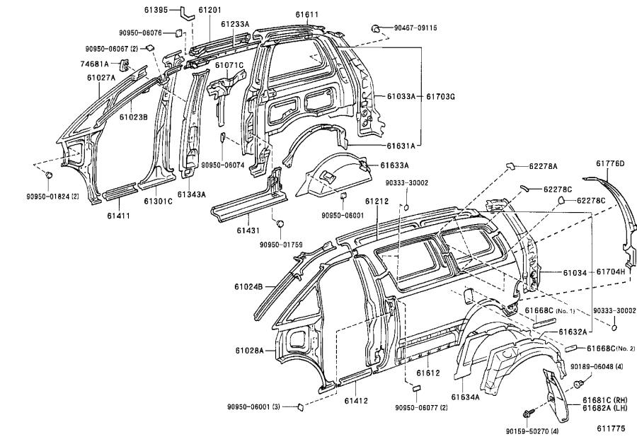 Toyota Previa Rail, roof side, inner no. 2 right. Body