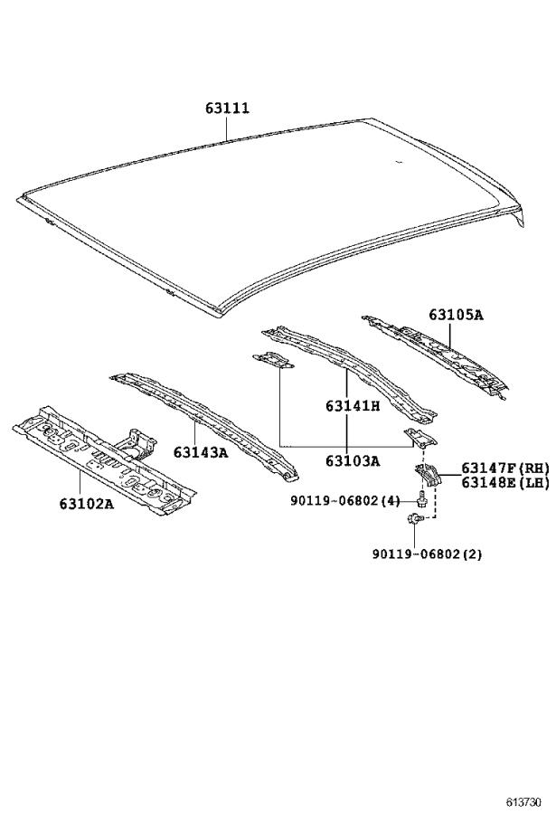 Scion IQ Roof Bow. Reinforcement, Roof Panel, Center. Body
