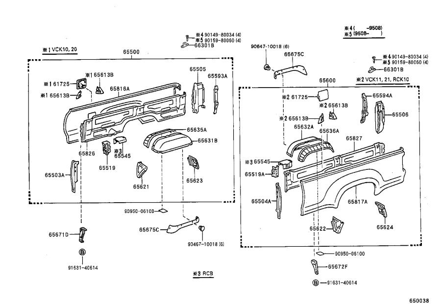 Toyota T100 Panel, rear body side, right. Interior, xtr