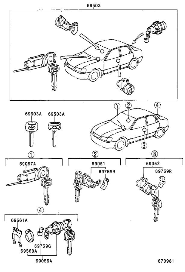 Toyota Corolla Door Lock Cylinder (Right). Cylinder and