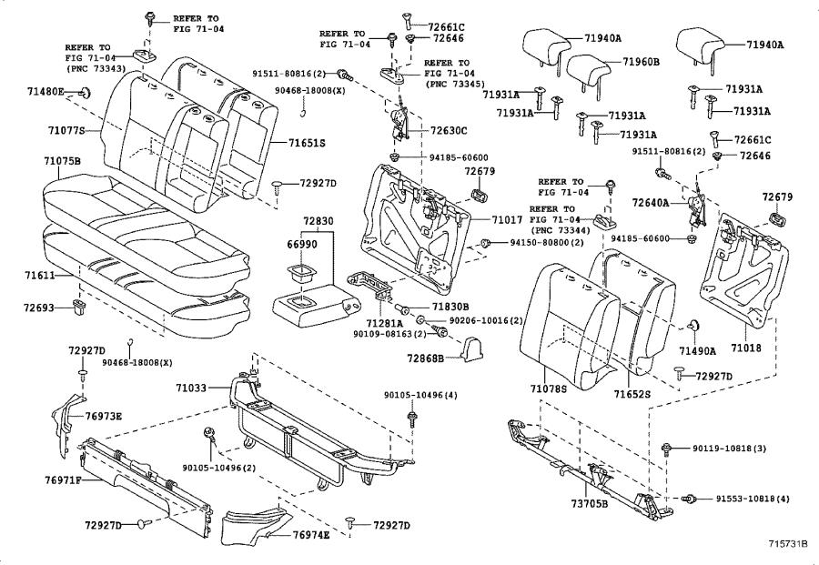 Toyota Yaris Pad sub-assembly, rear seat back with cover