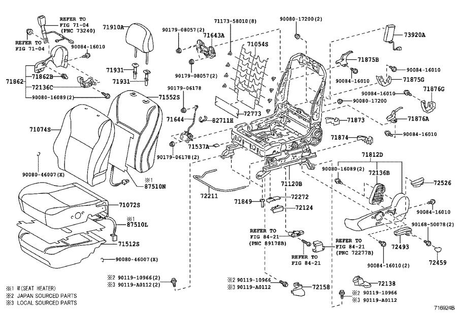 Toyota Corolla Seat (Left, Front). DRIVER, PASSENGER, SRS