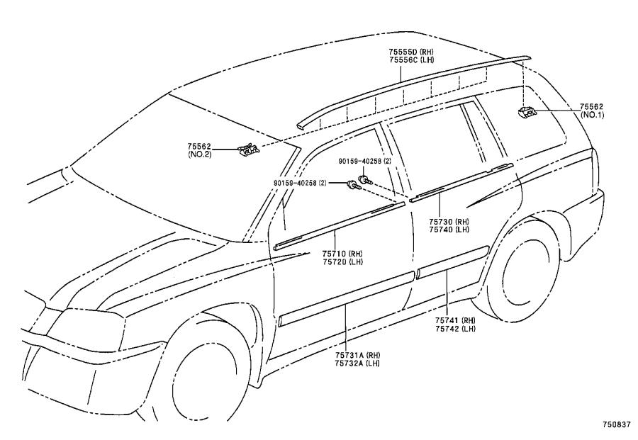Toyota Highlander Roof Drip Molding (Right). MOULDING