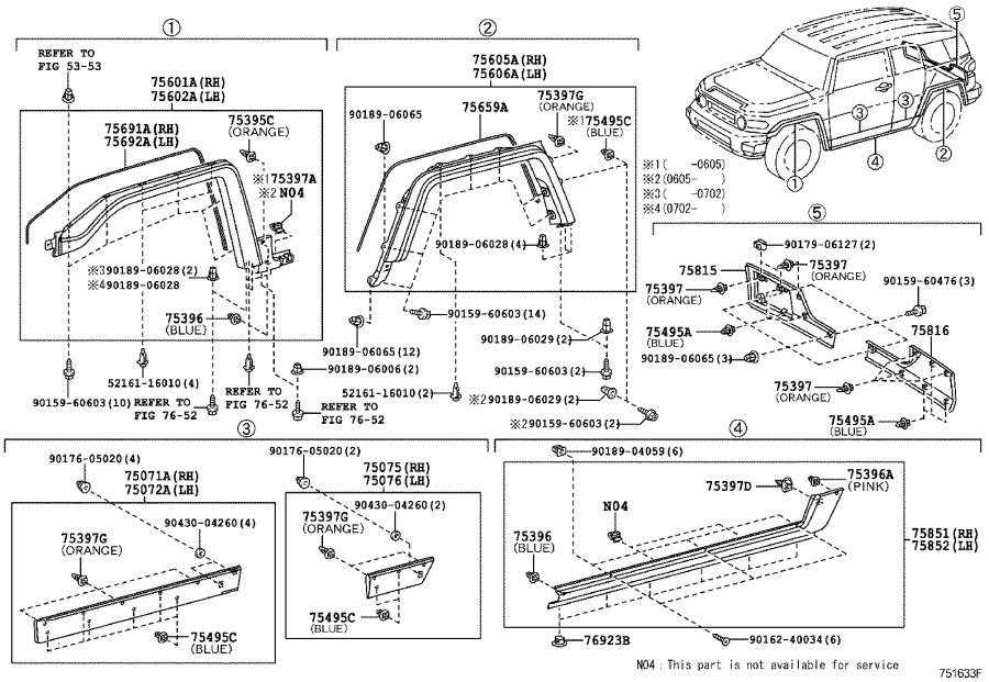 Toyota FJ Cruiser Moulding sub-assembly, windshield
