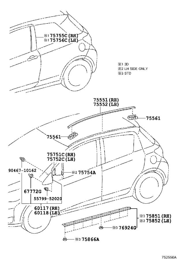 Toyota Yaris Roof Drip Molding (Left). MOULDING, Roof Drip