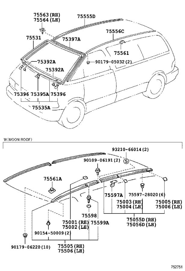 Toyota Previa Moulding, windshield, outer upper. Body