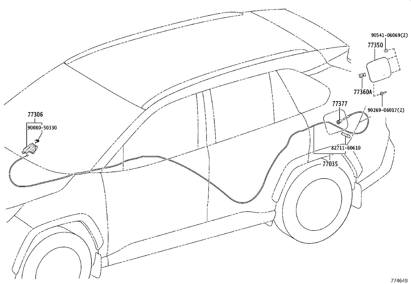 Toyota Rav4 Cable Sub Assembly Fuel Lid Lock Control