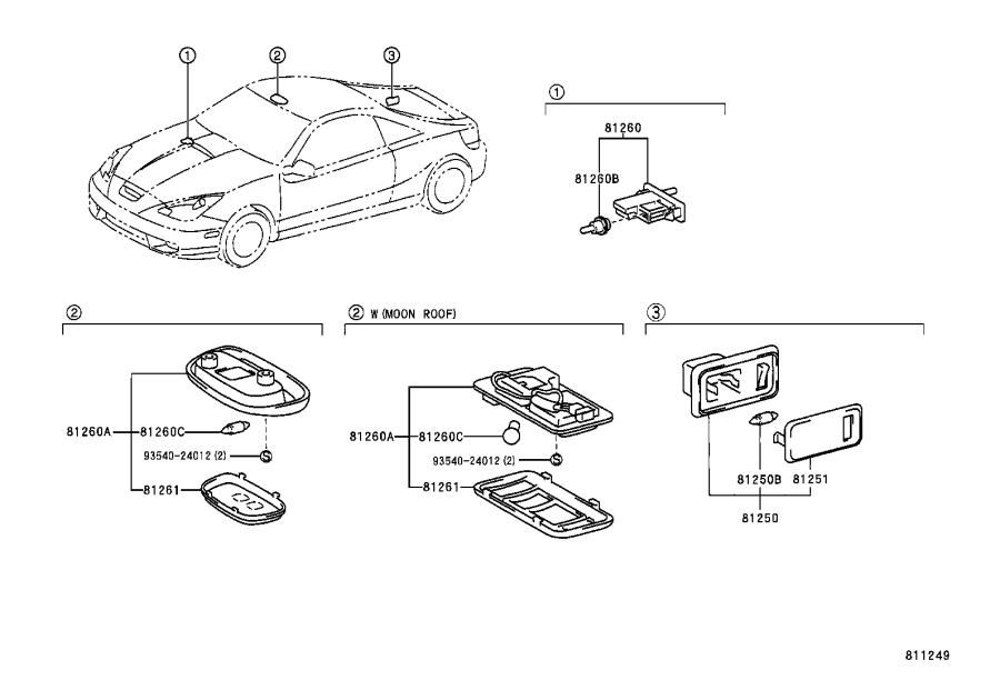 Toyota Celica Lamp assembly, map. Lt.gray. Electrical