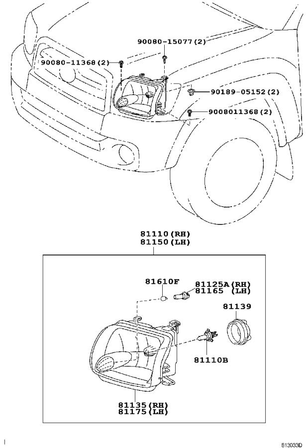 Toyota Tundra Unit assembly, headlamp, right. Lighting
