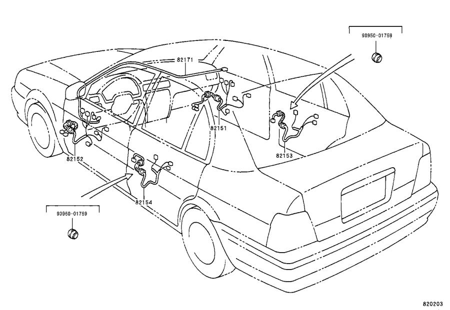 Toyota Tercel Wire, floor. Clamp, bracket, engine