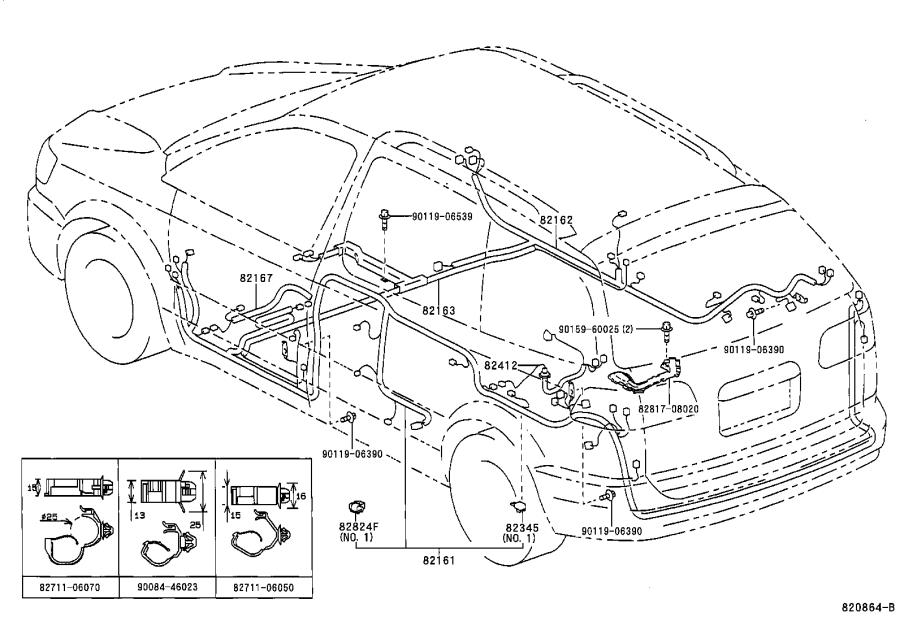 Toyota Sienna Wire, seat, no. 2. Electrical, wiring