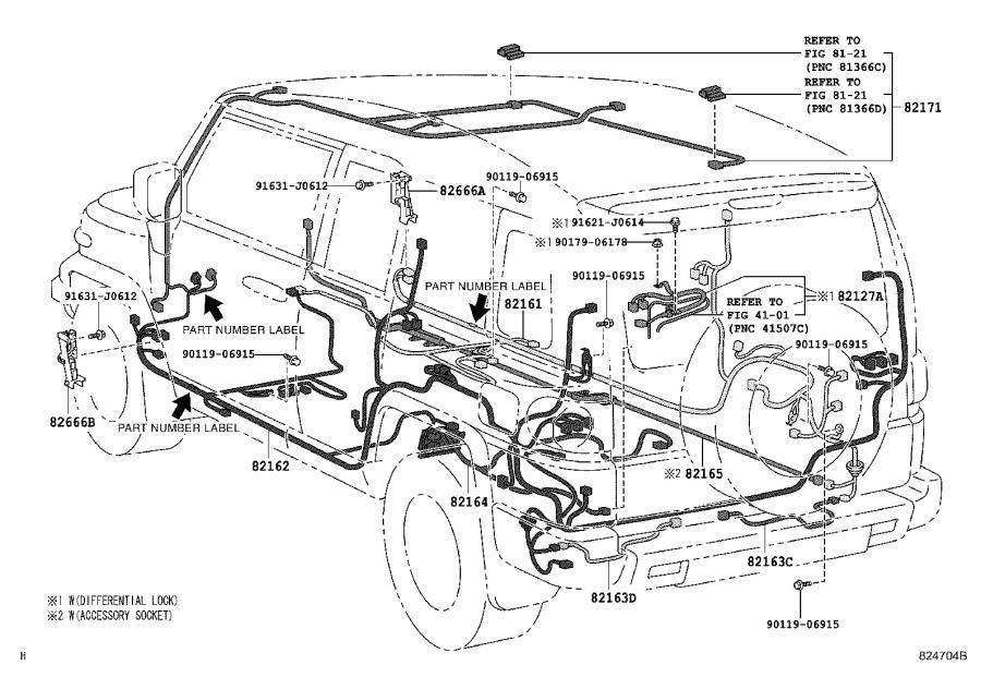 Toyota FJ Cruiser Wire, rear door, no. 2. Electrical