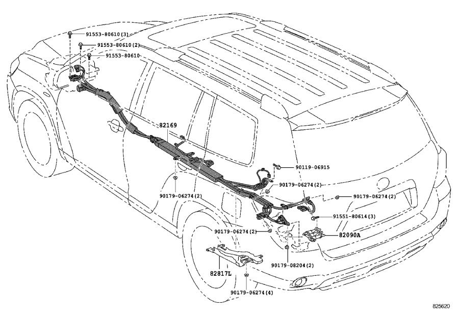 Toyota Highlander Wire, instrument panel. Windoshield