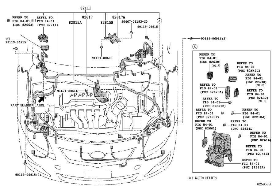 Toyota Corolla Wire, instrument panel, no. 2. Clamp