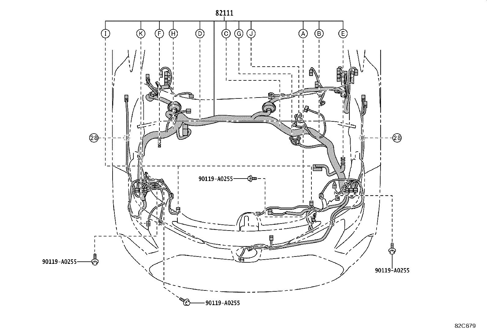 Toyota Corolla Protector. Wiring harness, no. 3; wiring