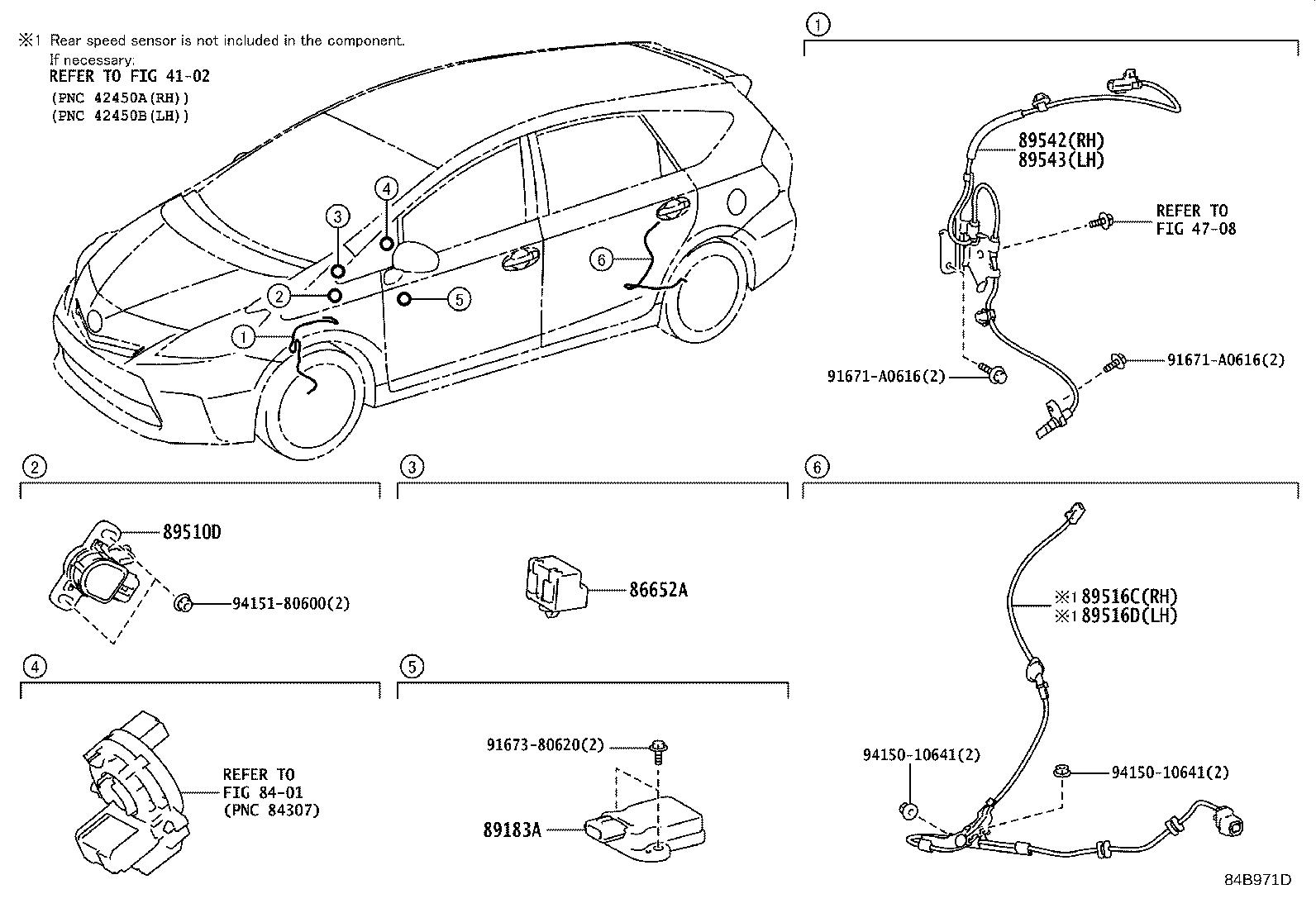 Toyota Prius v Abs wheel speed sensor wiring harness