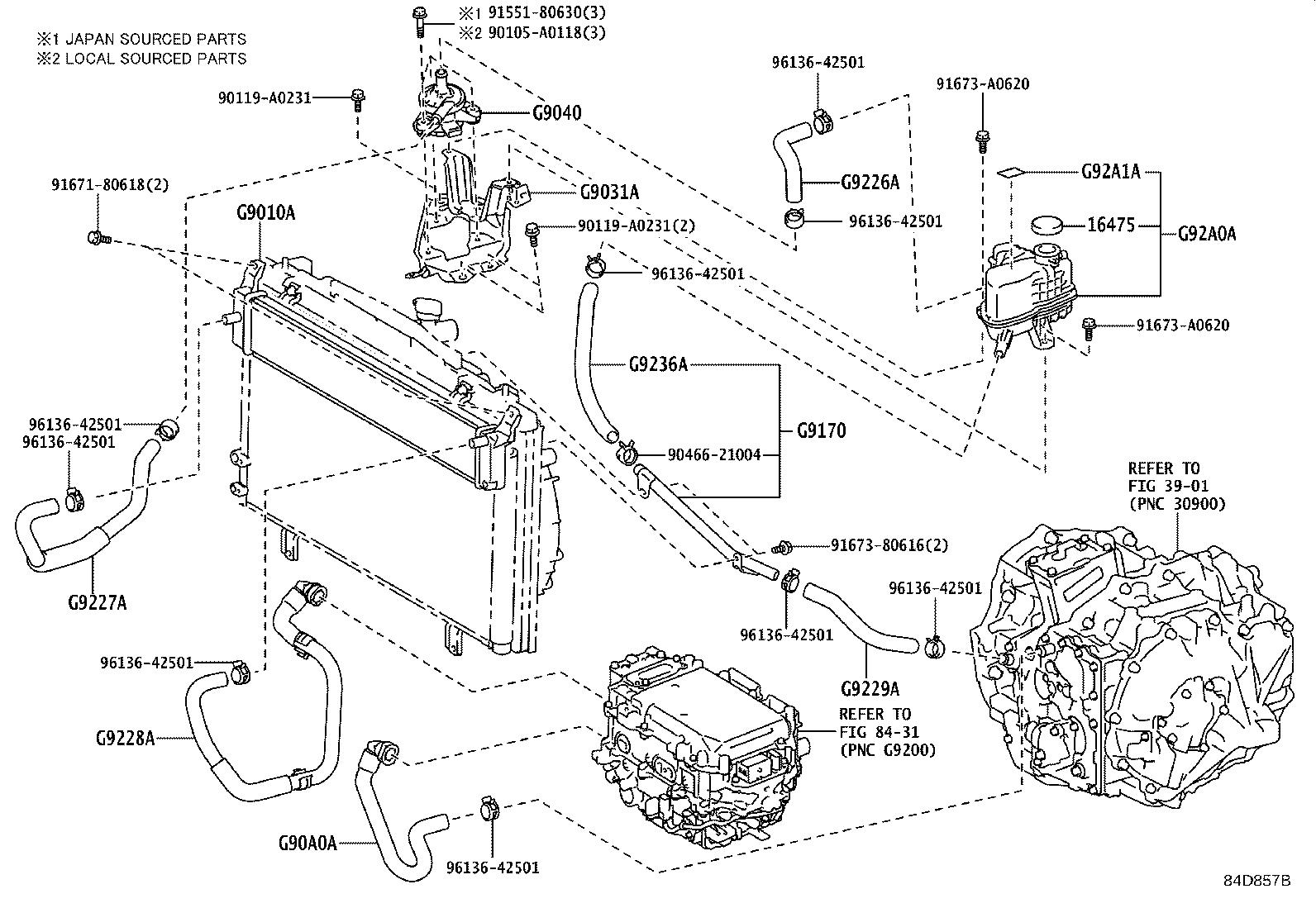 Toyota Avalon Pipe assembly, inverter cooling no. 1