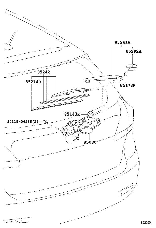 Toyota Venza Back Glass Wiper Motor (Rear). Motor and