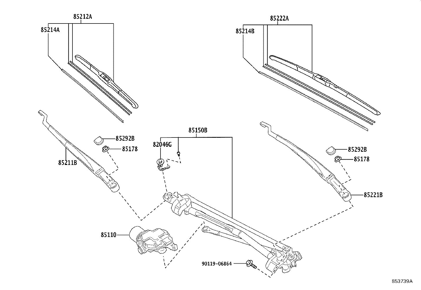 Toyota Camry Windshield Wiper Motor (Front). Make, Replace