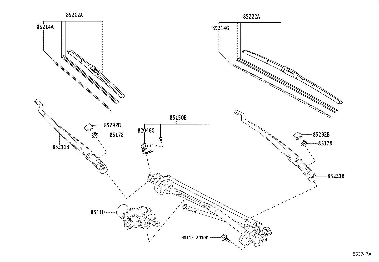 Toyota Camry Windshield Wiper Arm (Left, Front