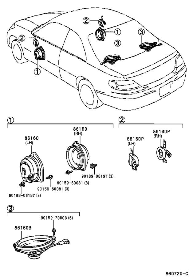 Toyota Solara Speaker (Front). Emits, Electrical, Device