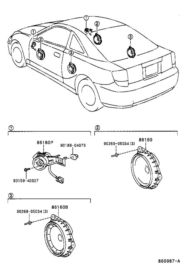 Toyota Celica Speaker assembly, front no. 2. Electrical