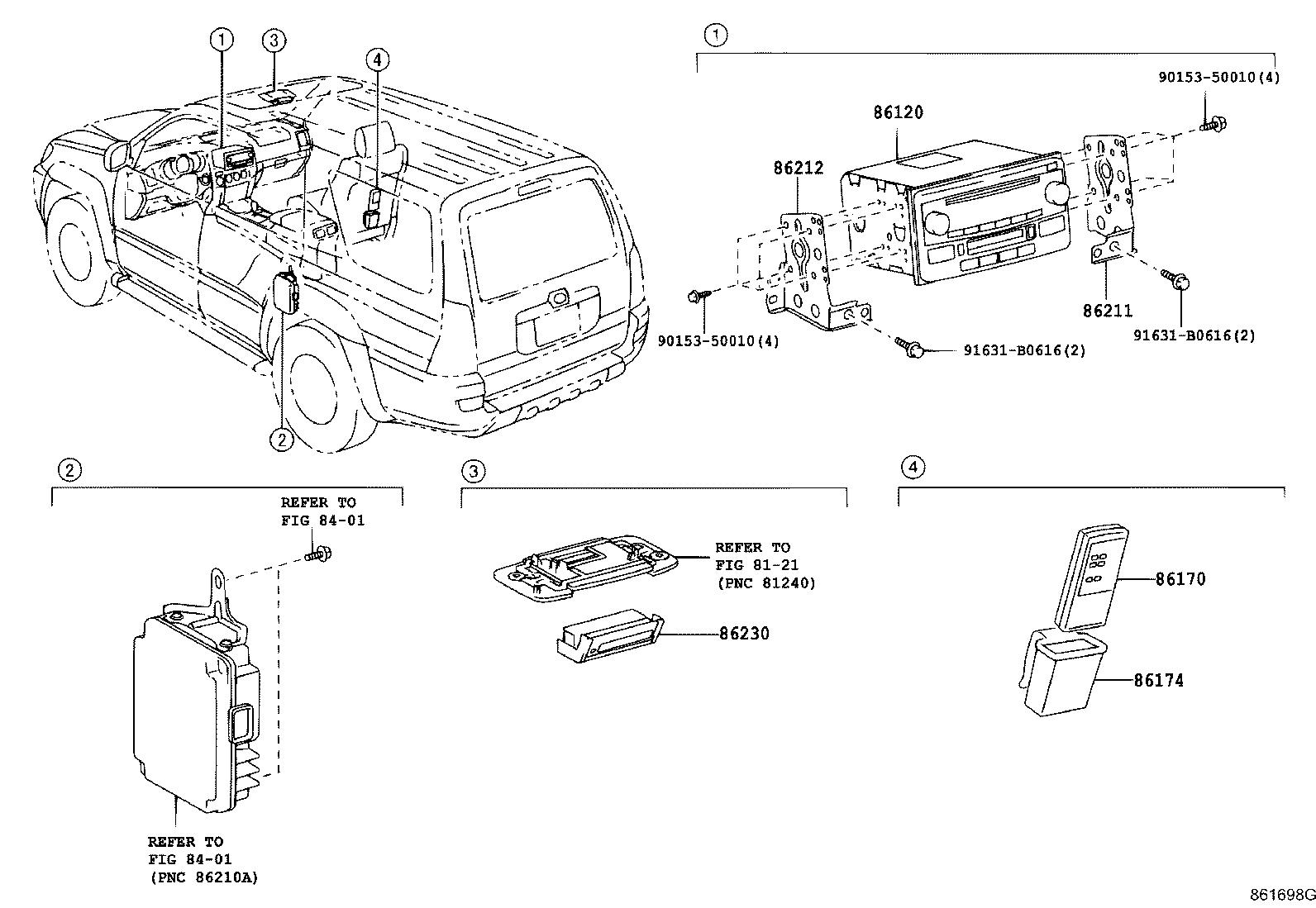 Toyota 4Runner Controller assembly, stereo component
