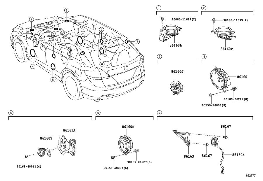 Toyota Venza Speaker assembly, front no. 1. Audio, avn