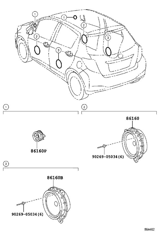 Toyota Yaris Speaker assembly. Front no. 1; rear