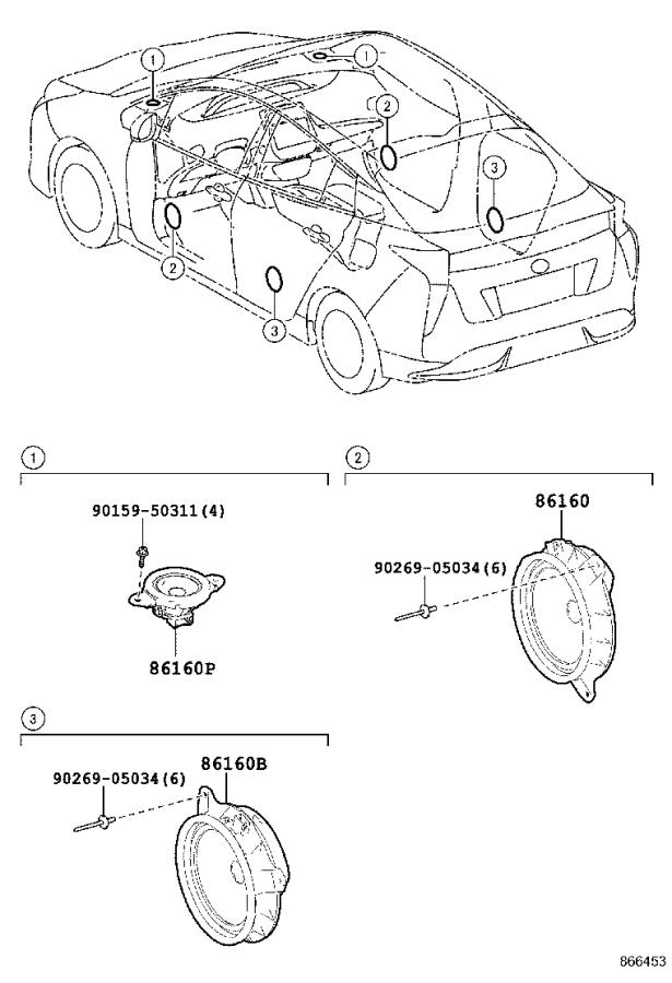Toyota Prius Speaker (Front, Rear). Electrical