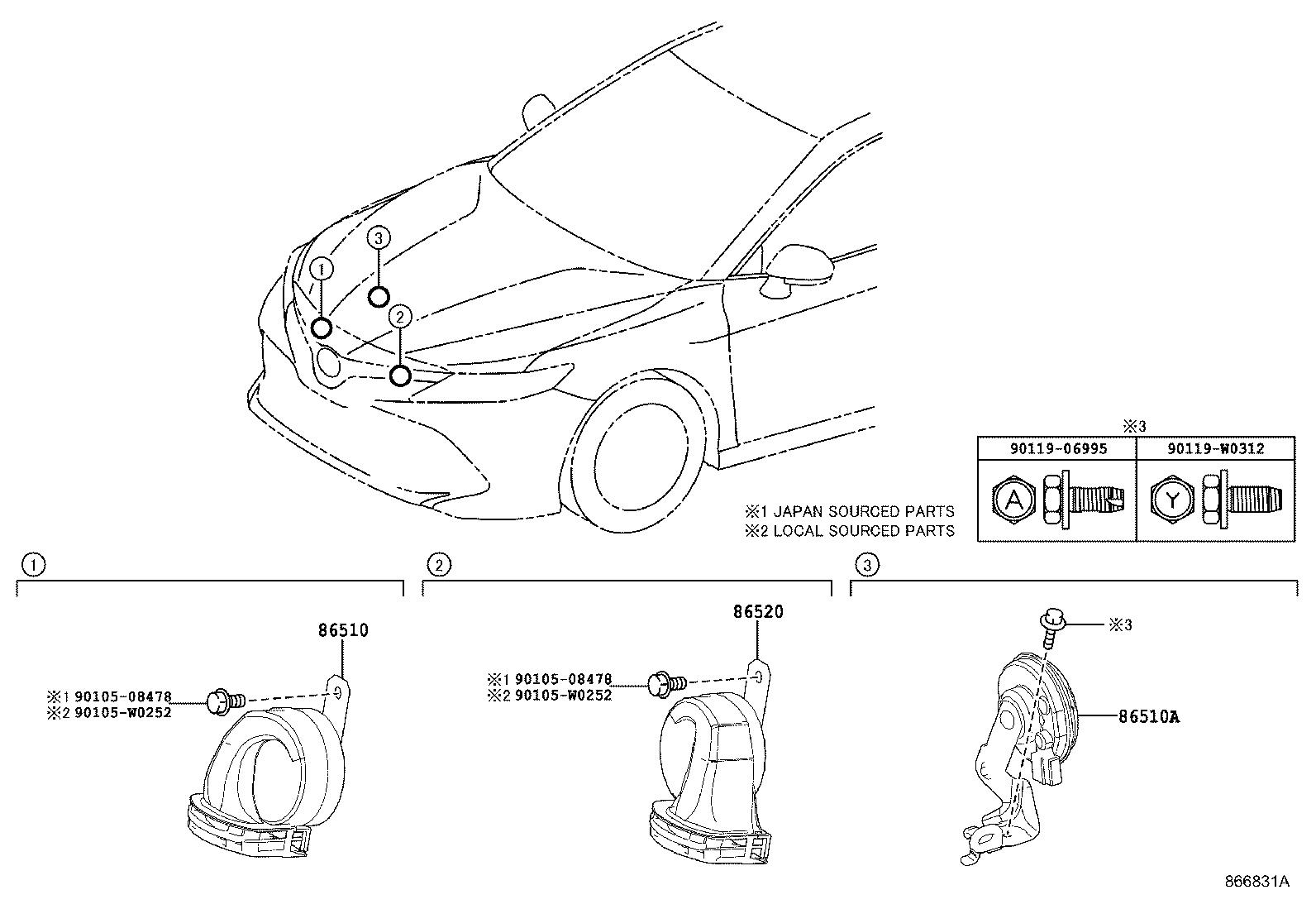 Toyota Camry Horn Electrical Device Controlled
