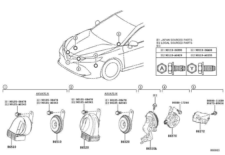 Toyota Camry Speaker assembly, vehicle approaching