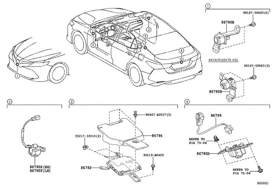 Toyota Camry Camera assembly, television, side right