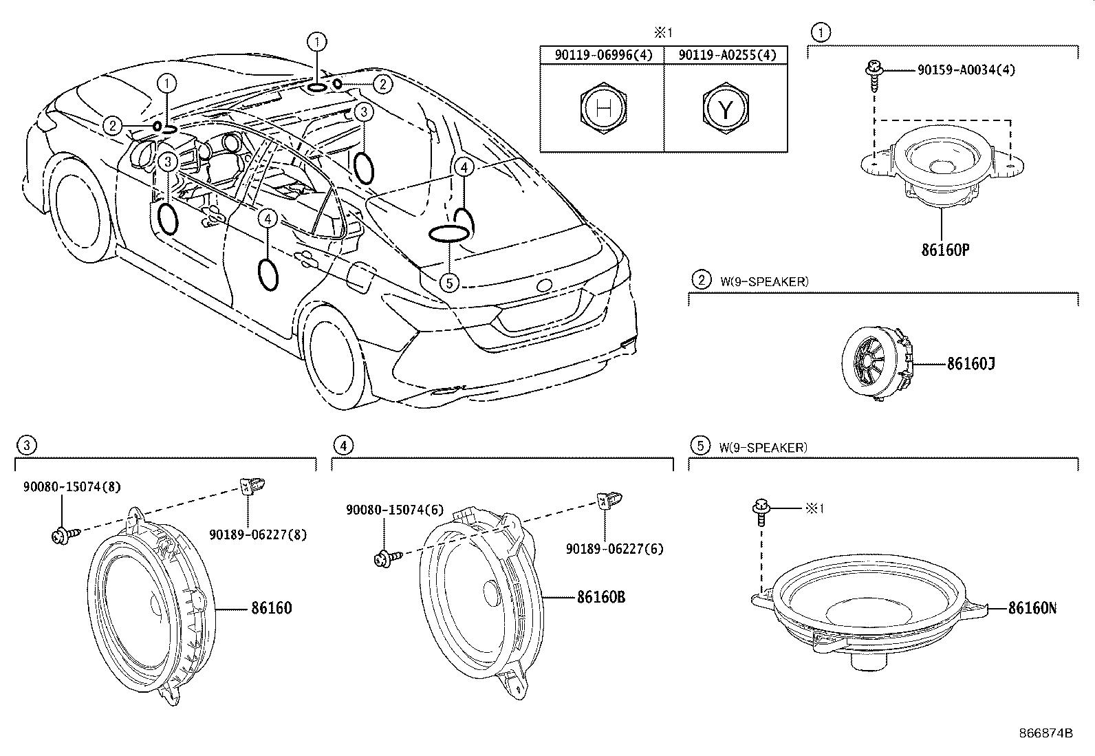 Toyota Camry Speaker (Rear). REAR NO. 3; STEREO COMPONENT