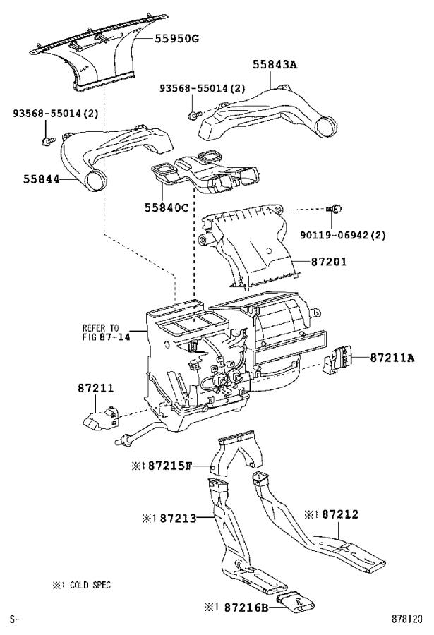 Toyota Yaris Duct, heater to register, no. 1. Air