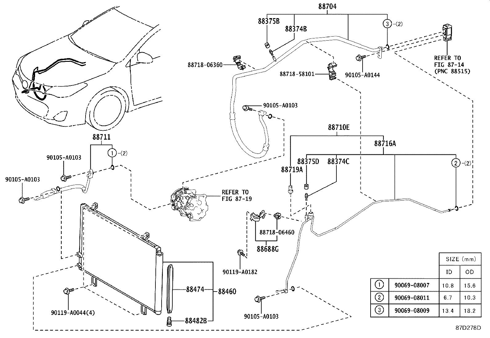 Toyota Avalon Condenser assembly, cooler. Air