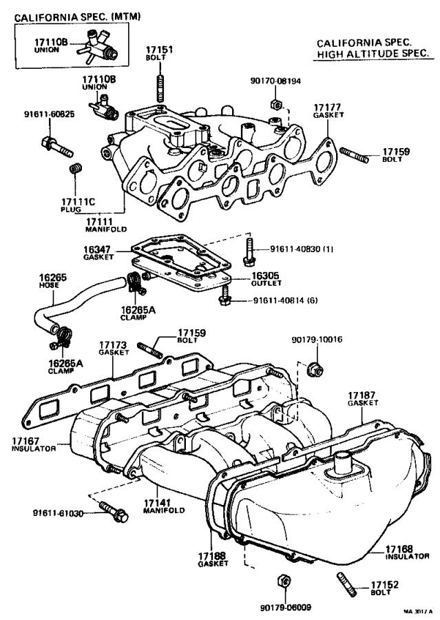 Toyota Corolla Bolt, stud(for manifold to cylinder head