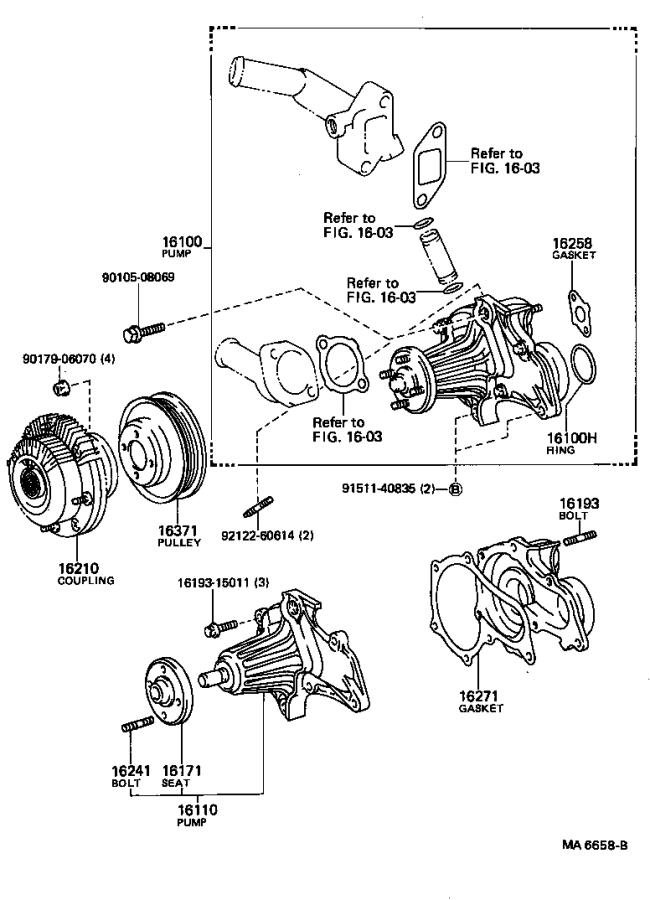 Toyota Corolla Engine Water Pump Housing. Cooling