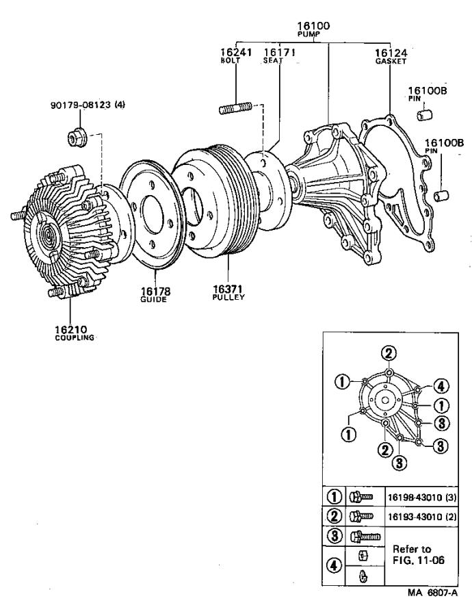 Toyota Cressida Pump assembly, engine water. Main engine