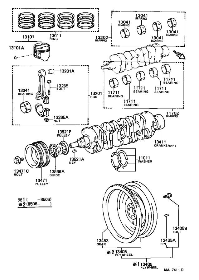 Toyota MR2 Piston sub-assembly, with pin. Engine