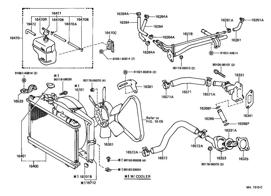 Toyota Corolla Hose, radiator, outlet. Engine, cooling