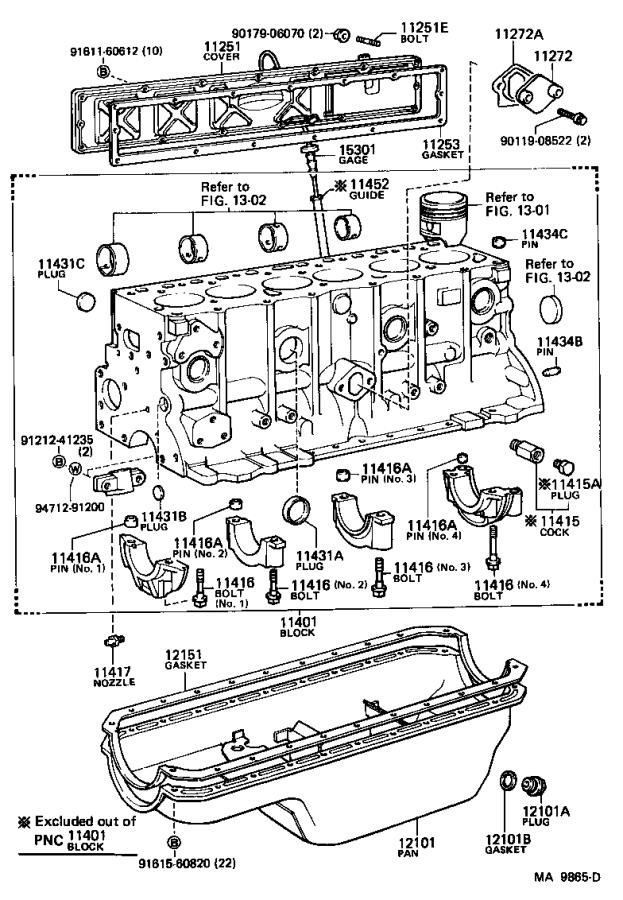 Toyota Land Cruiser Block sub-assembly, cylinder. Engine