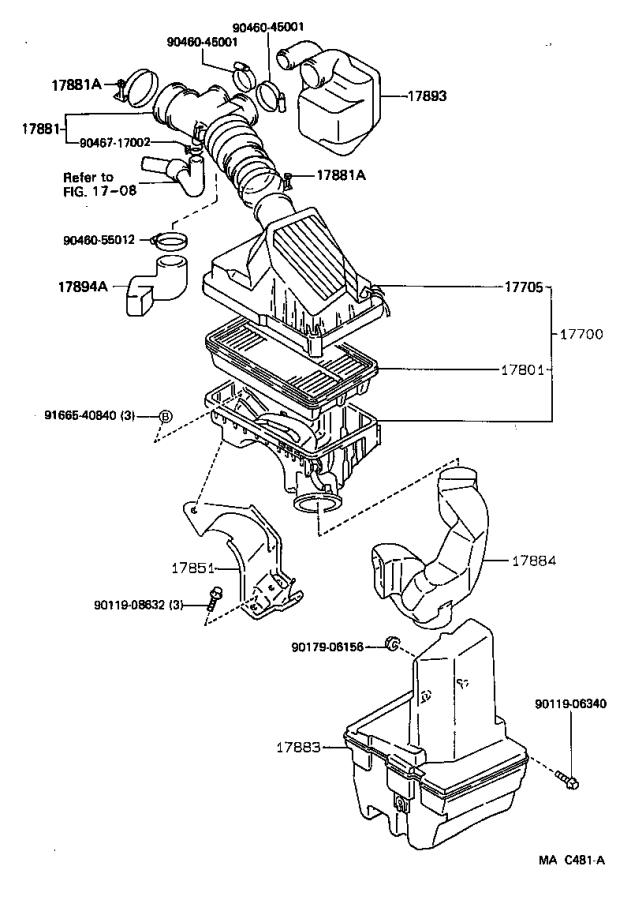 Toyota Corolla Hose, air cleaner, no. 1. Engine