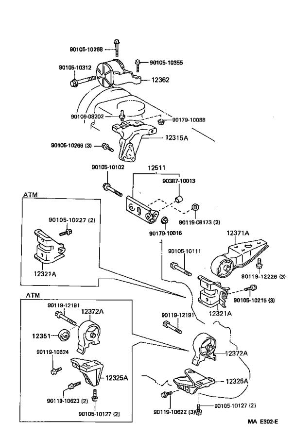 Toyota Tercel Insulator, engine mo. Mounting, components