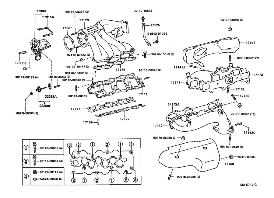 Toyota Camry Exhaust Manifold (Right). SPEC, CALIFORNIA
