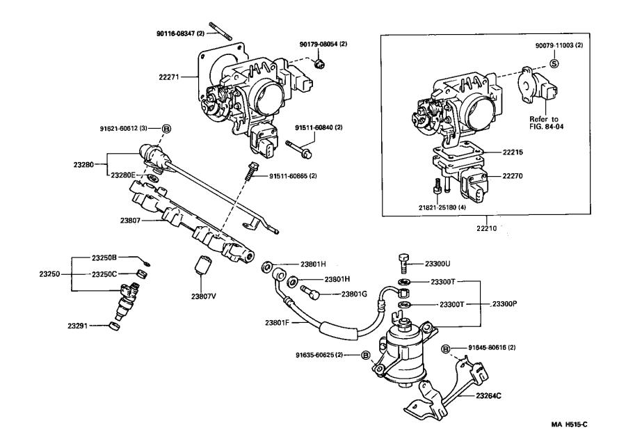 Toyota Paseo Tube sub-assembly, fuel pump. System, body