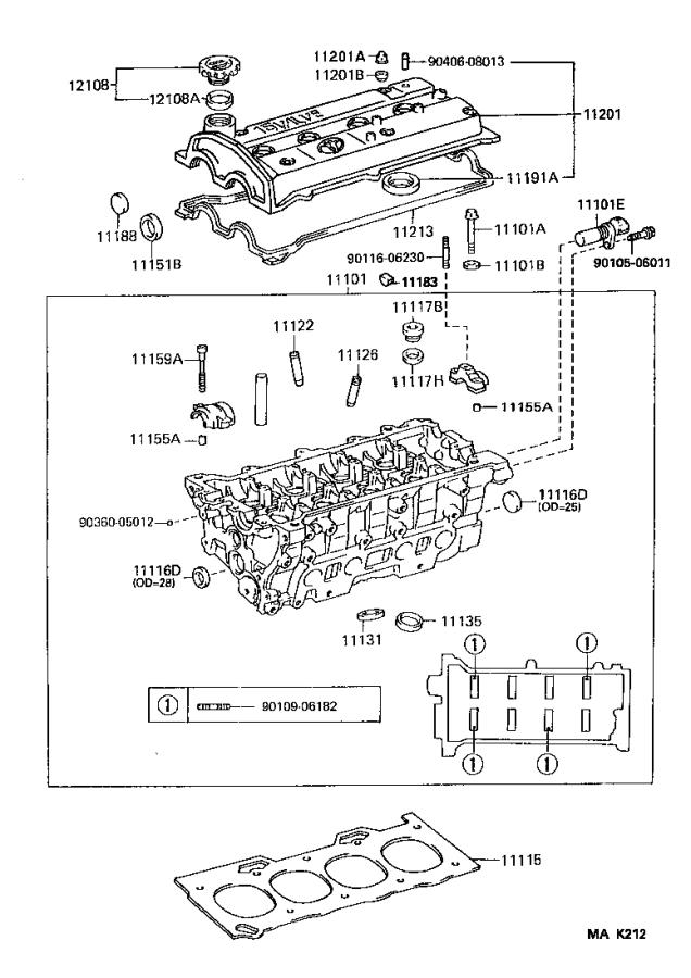 Toyota Paseo Engine Cylinder Head Gasket. Components